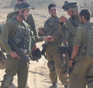 IDF combat reservists taking a break near the Gaza border. (Ben Hartman)