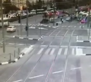 A CCTV video in which the car can be seen veering onto the light rail line sidewalk, and plowing into pedestrians.
