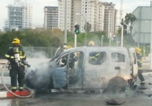 The car in which Shai Bachar was killed, after the explosion on January 23rd. (Magen David Adom)