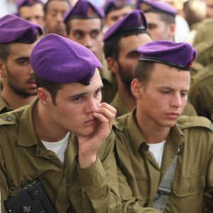 Givati Brigade soldiers at the funeral for Hadar Goldin. (Ben Hartman)