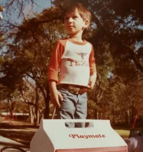 This kid would never play football, but he would watch many games. (the author, at Northwest Park, Austin, 1984)